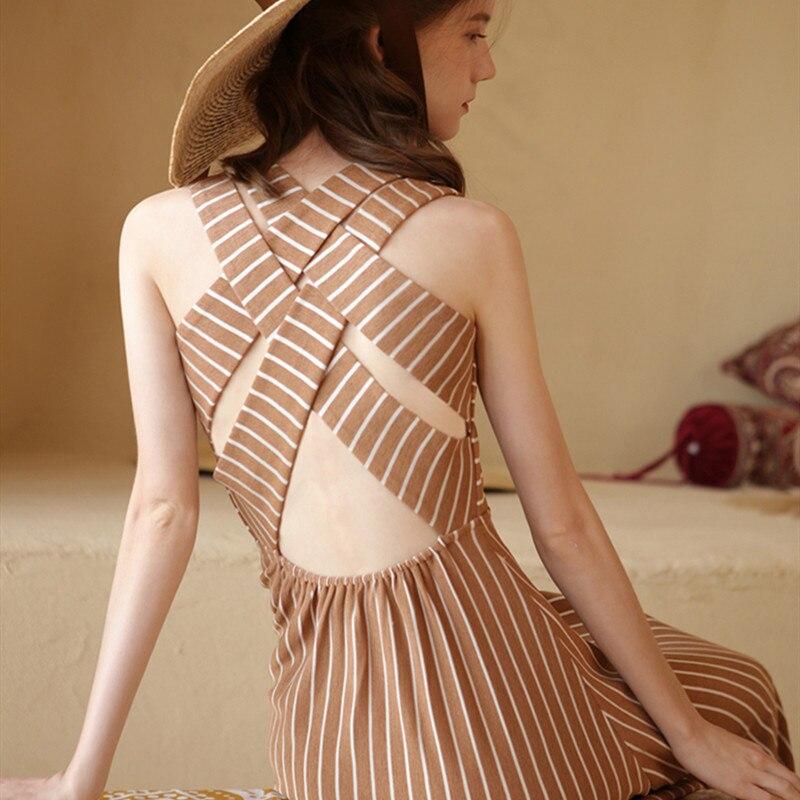 Summer Women Vintage Bohemian Cotton Linen Long Dress Ladies Retro Beach Casual Sexy Cross backless Striped