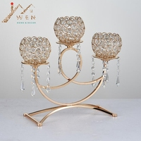 Crystal candle holder golden plated 3 arms metal candelabra with pendants arch bridge shape home decoration or wedding road lead