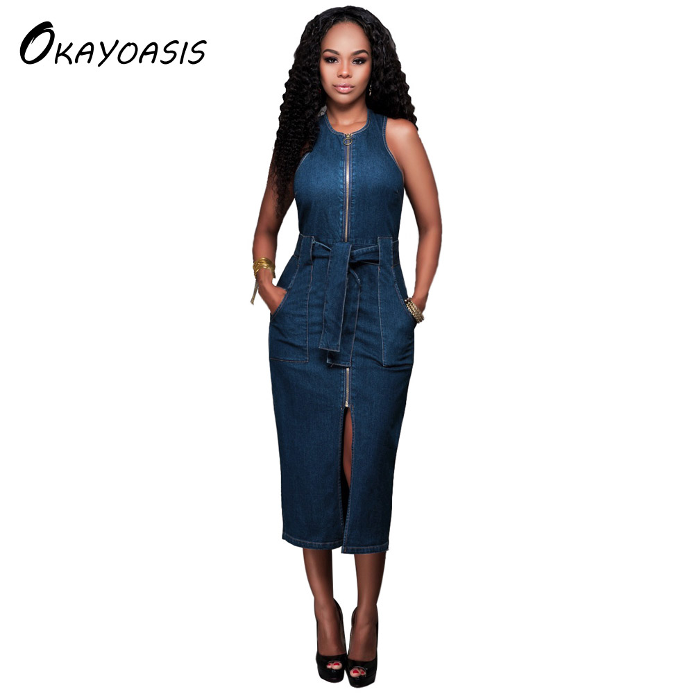 OKAYOASIS Free Shipping Ladies Casual Denim Dress Vintage Jeans Dresses Sleeveless Blue New 2017 Fashion Women Denim Dresses