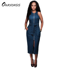 6ea11a10a77 OKAYOASIS Free Shipping Ladies Casual Denim Dress Vintage Jeans Dresses  Sleeveless Blue New 2017 Fashion Women