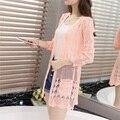 Mulheres moda primavera verão as mulheres da longo-luva camisola de malha fina oco cardigan outerwear camisa ar condicionado de médio-longo