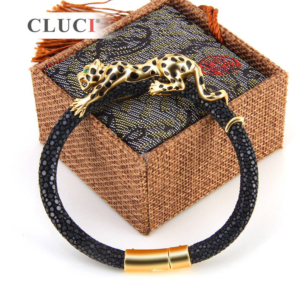 CLUCI 925 Sterling Silver leopard Bracelet with magnetic buckle Extraordinary Father's Day Gift gold color real leather for men
