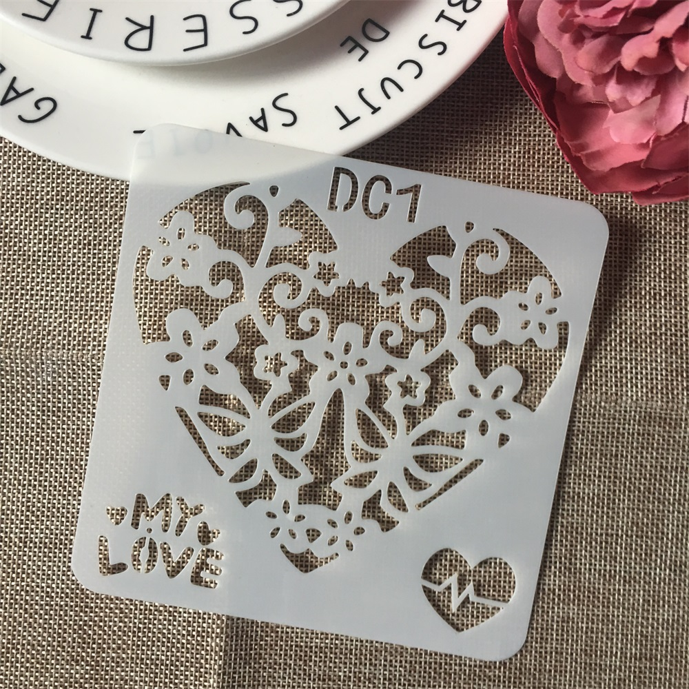 1Pcs 13cm Butterfly Love Heart DIY Craft Layering Stencils Wall Paint Scrapbook Stamp Embossing Album Decorative Card Template