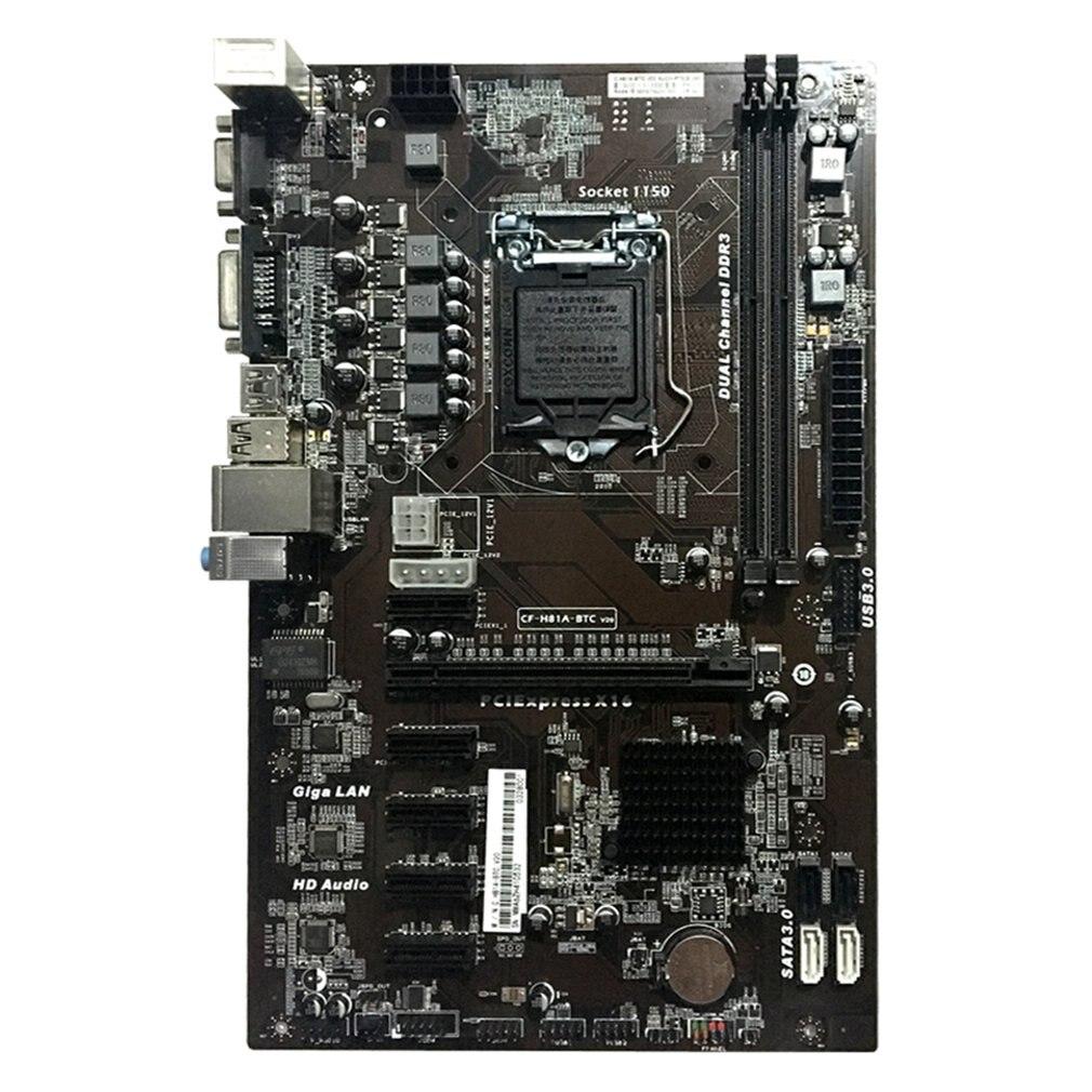 Motherboard H81A-BTC V20 Minero Placa ATX Socket LGA1150 Procesador H81 Placa Base de Apoyo 6 Tarjeta Gráfica Para La Minería