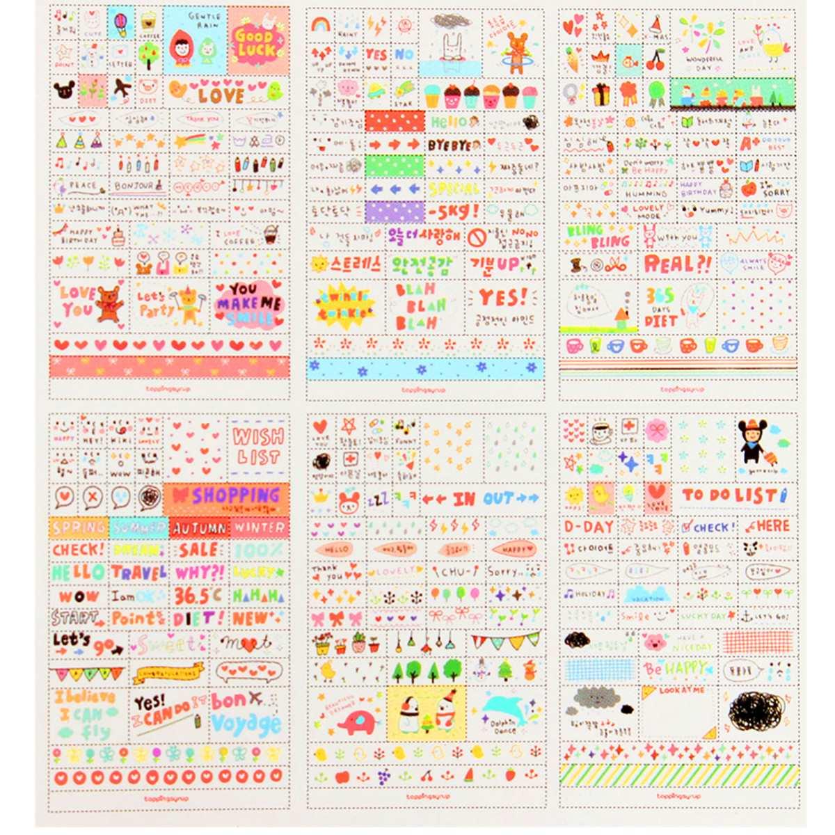 Scrapbook paper books - 6 Sheets Pack Cute Diy Word Expression Diary Album Diy Scrapbooking Paper Sticker Book Calendar