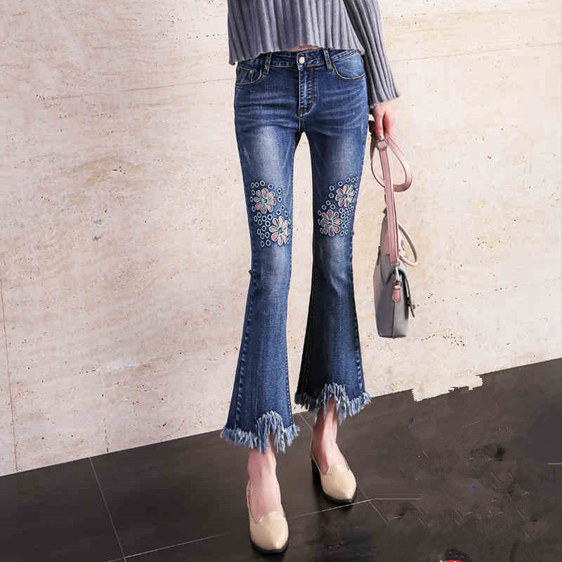spring autumn 2017 new high waist denim jeans with embroidery woman pants hole ripped jeans for women bell bottom jeans trousers
