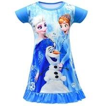 7dc86a332371fa Elsa cartoon księżniczka sukienka letnia dziewczęca sukienka koszula nocna  dla dzieci sukienki koszula nocna piżamy sukienka