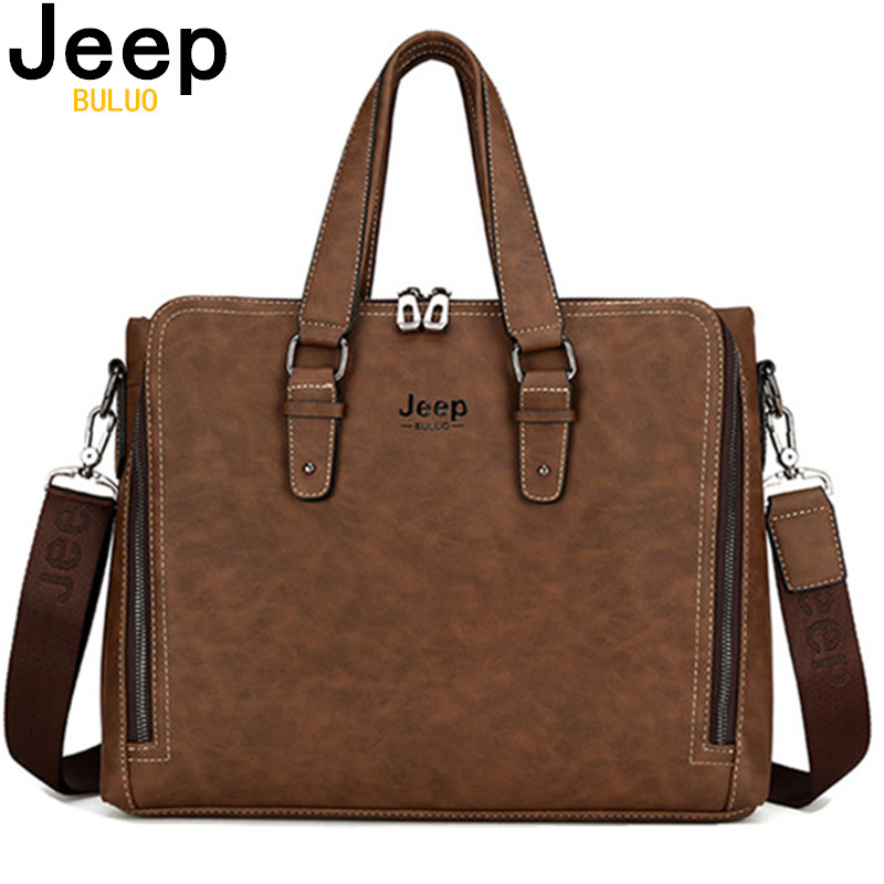 JEEP BULUO Laptop Briefcase Bag Fashion Men Nubuck Leather Bag Famous Brand Shoulder Messenger Bags Causal Handbag Male 8022