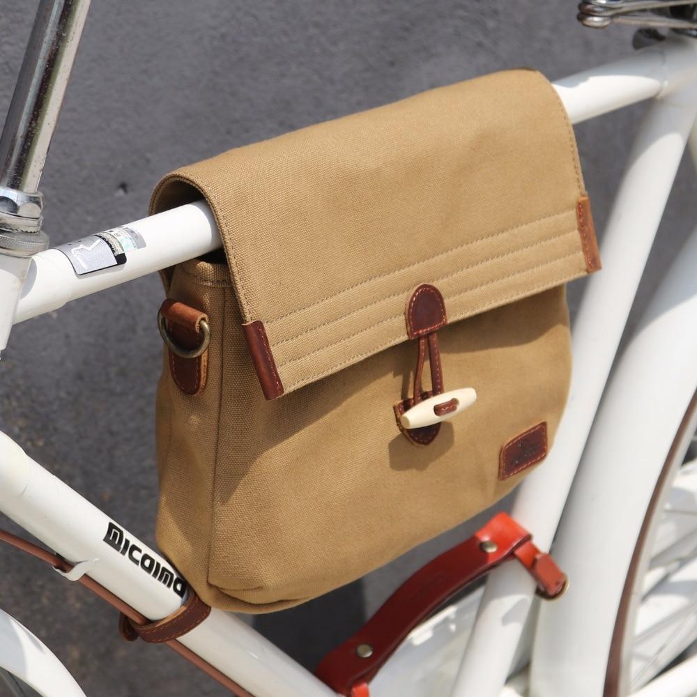 цена на Tourbon Retro Bicycle Bag Bike Frame Tube Carrier Pannier Messenger Bag Khaki Canvas Leisure Daily Life Bags