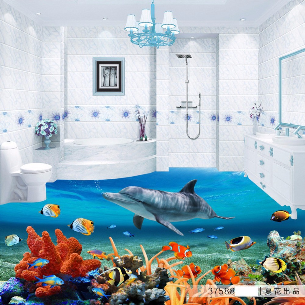 Free Shipping custom 3D coral flooring sticker bathroom kitchen office self-adhesive wear floor wallpaper mural