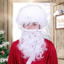 Bevigac для мужчин Рождество Санта Клаус волос парик и борода набор для косплея вечерние маскарадный костюм мяч аксессуары