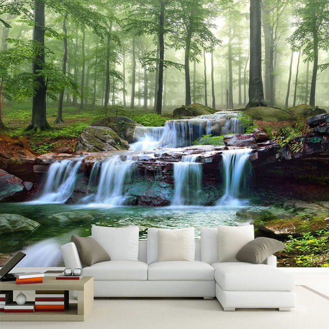 Custom 3D Mural Wallpaper Modern Waterfalls Forest Scenery Wall Painting Living  Room TV Sofa Background Wall