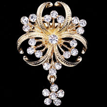 Bohemia Crystal Rhinestone Flower Brooch For Women Delicate Bouquet Brooches Pins Wedding Bridal Accessories New 2019