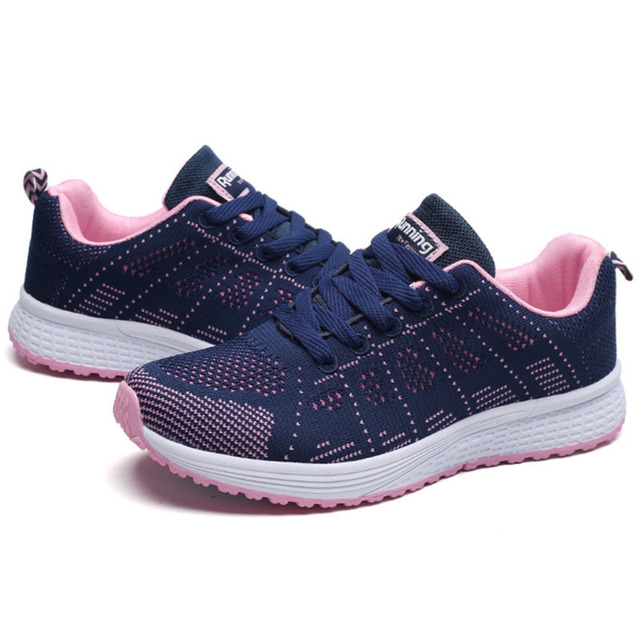 Tennis Shoes For Women 2019 Fashion Casual Shoes Lace-Up Breathable Mesh Round Cross Strap Flat Sneakers Calzado Deportivo Mujer 2