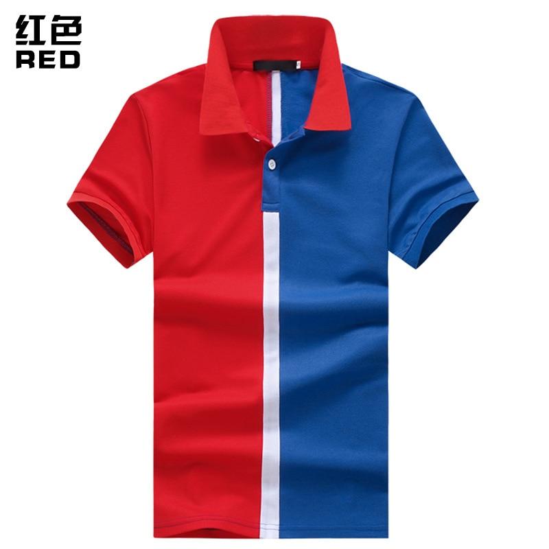 2018 Fashion Turn-down Collar   Polos   Mens Cotton Contrast Color   Polo   Shirt Slim Casual