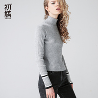 Toyouth Knitted Sweater 2017 Autumn Women Casual Contrast Color Brief Skinny Turtleneck Ladies Pullover Sweaters