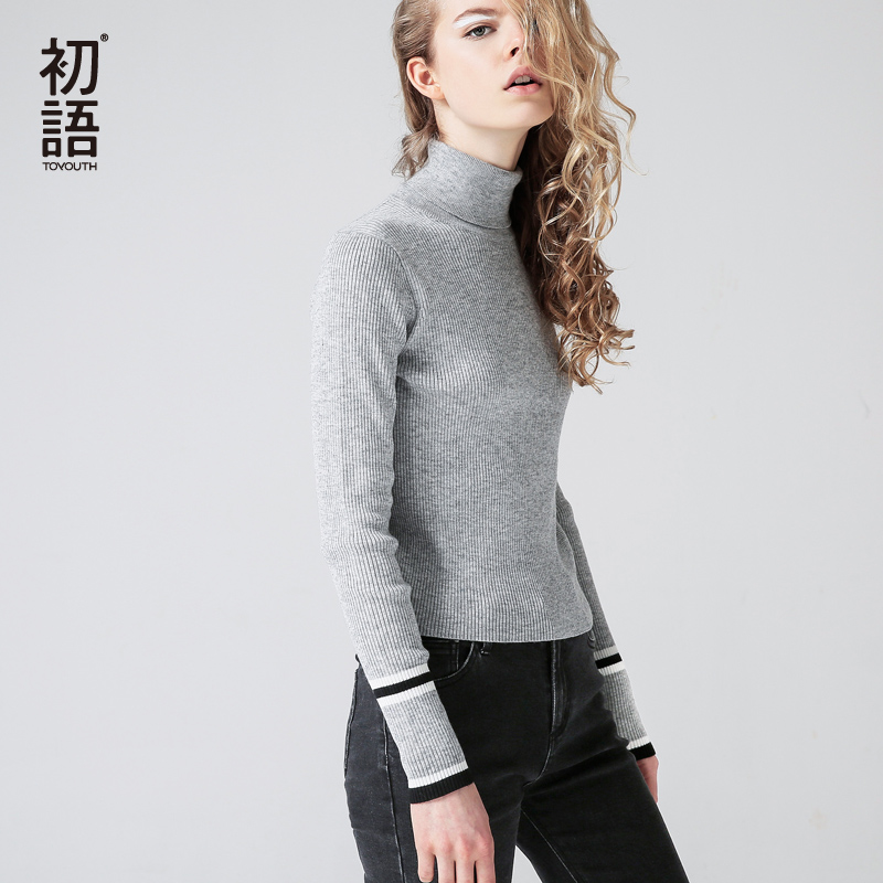 Toyouth Turtleneck Knitted Sweater Autumn Winter Sweater Women tops Color Block Long SleeveCut V neck Basic office 2018 Jumpers