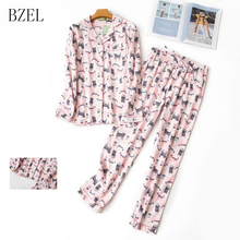 BZEL Pajama Sets Long Sleeve Sleepwear Leisure Home Cloth Co