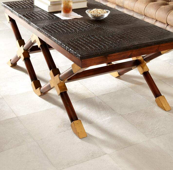 Pure White Patchwork Square Cow Hair Carpet Cowhide Leather Rugs And Carpets Modern Design 2500x2500mm