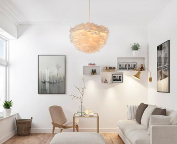 Feather White Warm Pendant light Lighting F Creative Artistical Lamp for Living Room Dining Room Bedroom Modern Led bulbs