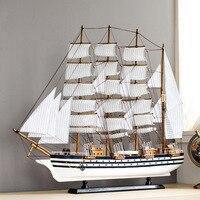Phong cách địa trung hải bằng gỗ mô hình thuyền buồm đồ trang trí mô phỏng của gỗ thực trang trí thuyền mịn craft tàu quà tặng
