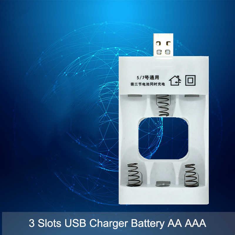 3 فتحات العالمي 3.6 فولت شاحن بطارية محول مع USB تهمة ذكي ل Ni-Cd بطارية قابلة للشحن AA AAA
