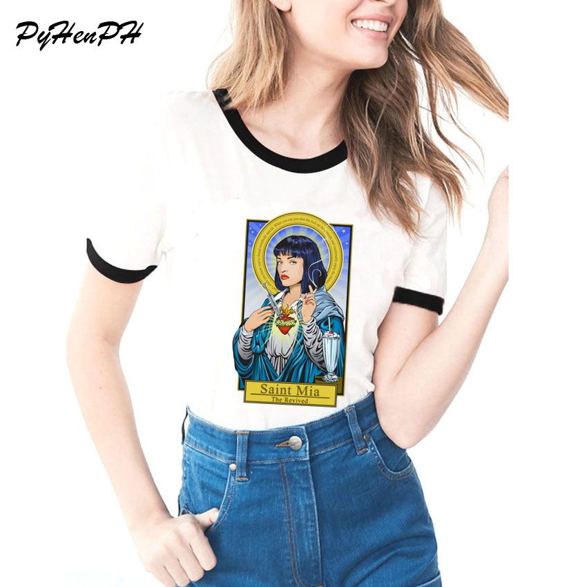 Le catholicisme Femmes vêtements Pulp Fiction Saint Mia/Saint Jules t shirt Femme casual T-shirt femmes de noël poleras