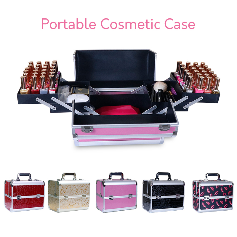 Women portable cosmetic case professional suitcase nail beauty eyelash tattoo tool box quality multi function travel
