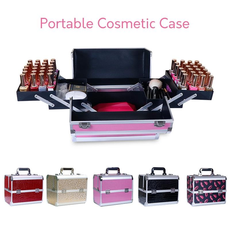Women portable cosmetic case professional suitcase nail beauty eyelash tattoo tool box quality multi function travel