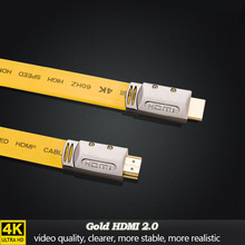 HDMI Cable 3D 4K Gold Plated Black Flat 18Gbps Full HD 1080P Ethernet HDMI 2.zero Cables 1m/three.3Ft