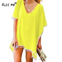 Wholesale Loose Female Chiffon Top Tassel Solid Color Beach Cover Up Women S Tunic Beachwear Cover