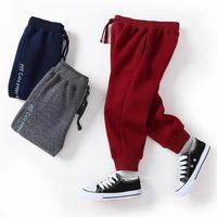 Spring Autumn Baby Boys Casual Pants Fashion Cotton Brushed Thicken Kids Cargo Pants Letter Pattern New
