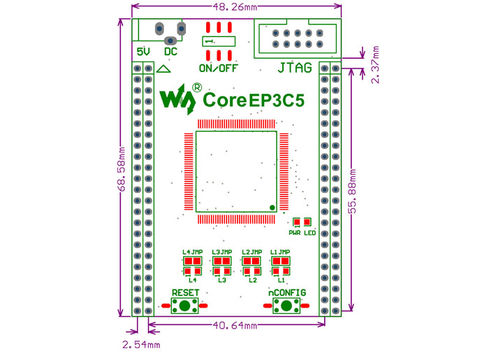 FPGA core board dimensions