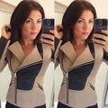 Fashion Womens Long Sleeve Zipper Splice Jacket Coat Casual Loose Outwear Tops