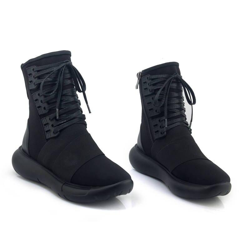 Femme Top Baskets En Lacets Plates Chaussons Noir 2018 Chaussures Véritable Femmes La Confortables Cheville Cuir Morazora Automne Qualité Bottes À W2IEDYH9