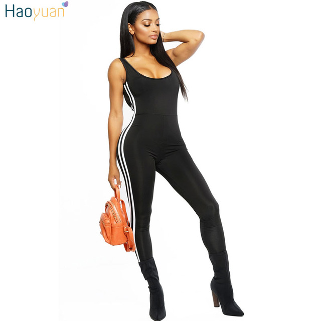 dfc037e1aa77 HAOYUAN Backless Sexy Jumpsuits Black White Side Striped Bodycon Long Pants  Bodysuit Overalls Sportsuit Rompers Womens Jumpsuit