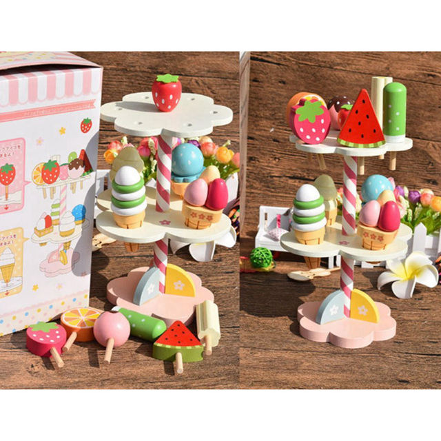 Baby Toys Simulation Magnetic Ice Cream Wooden Set Pretend Play Kitchen Food Infant Birthday Christmas Gift