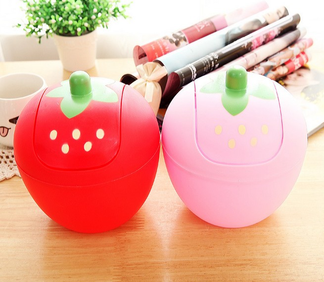 1PC Creative trend Cute Mini desktop trash Korean sweet strawberry shake cover quality storage buchet waste bins OK 0192 ...