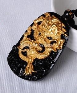 Image 2 - Бесплатная доставка, оптовая продажа, золотой, натуральный, черный обсидиан, резьба, дракон, счастливый амулет, кулон для женщин и мужчин, подвески, модные ювелирные изделия