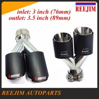 Dual Stainless Steel Akrapovic Carbon Fiber Car Exhaust Tip ID 76mm 3 OD 89mm 3 5
