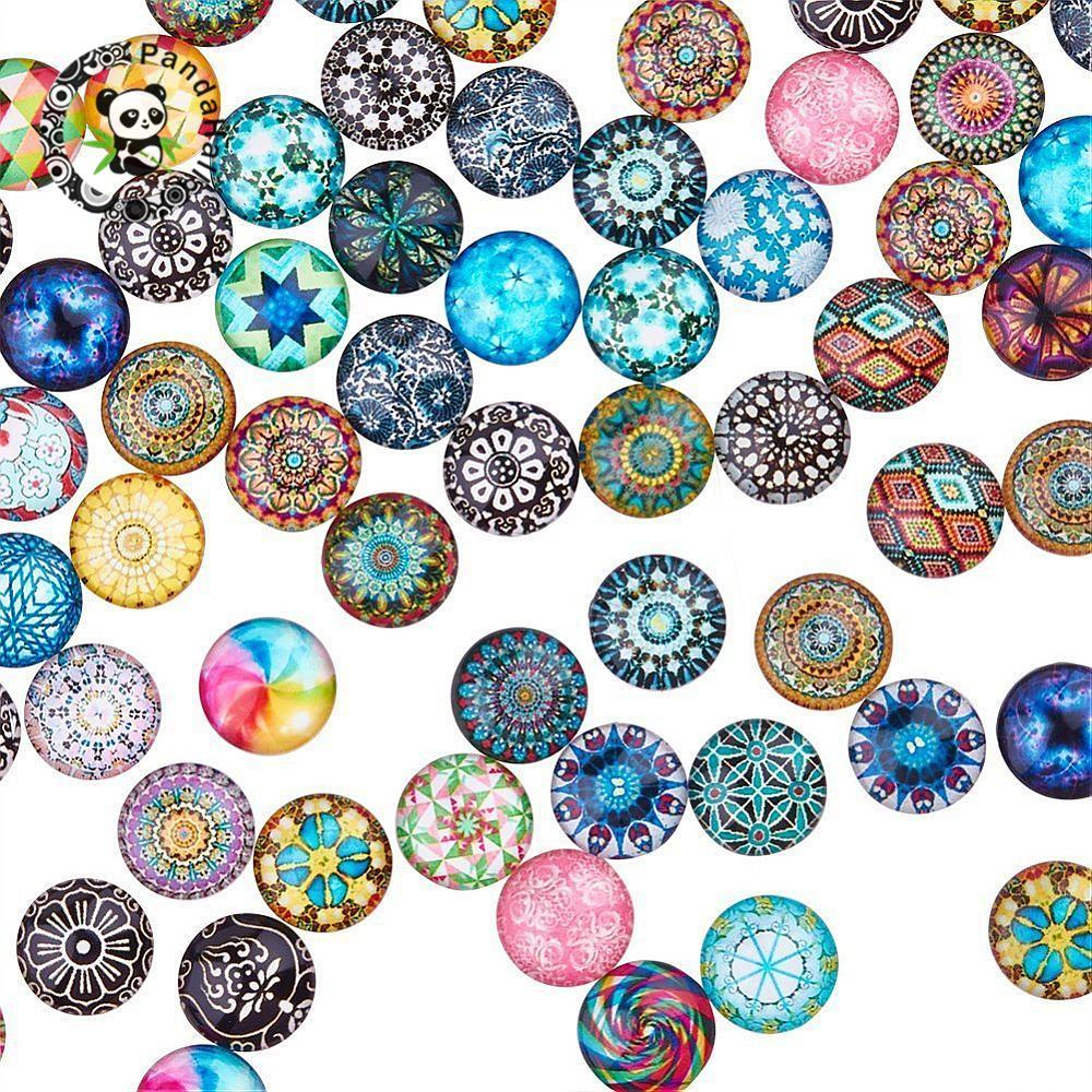 200pc Mixed Color Mosaic Printed Glass Half Round/Dome Cabochons Jewelry Findings for DIY 10mm 12mm 14mm 16mm 18mm 20mm 25mm-in Jewelry Findings & Components from Jewelry & Accessories