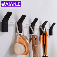 Robe Hooks Black Bathroom Hook for Towels Wall Mounted Decoration Coat Rack Clothes Hangers Aluminum Accessories