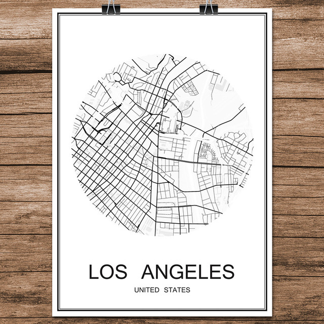 Abstract World City Street Map LOS ANGELES USA Print Poster Coated