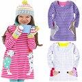 OLEKID 2017 Cotton Girls Dress Cartoon Animal Striped Girls Clothing Spring Autumn Long Sleeve Girls Clothes Children Costume
