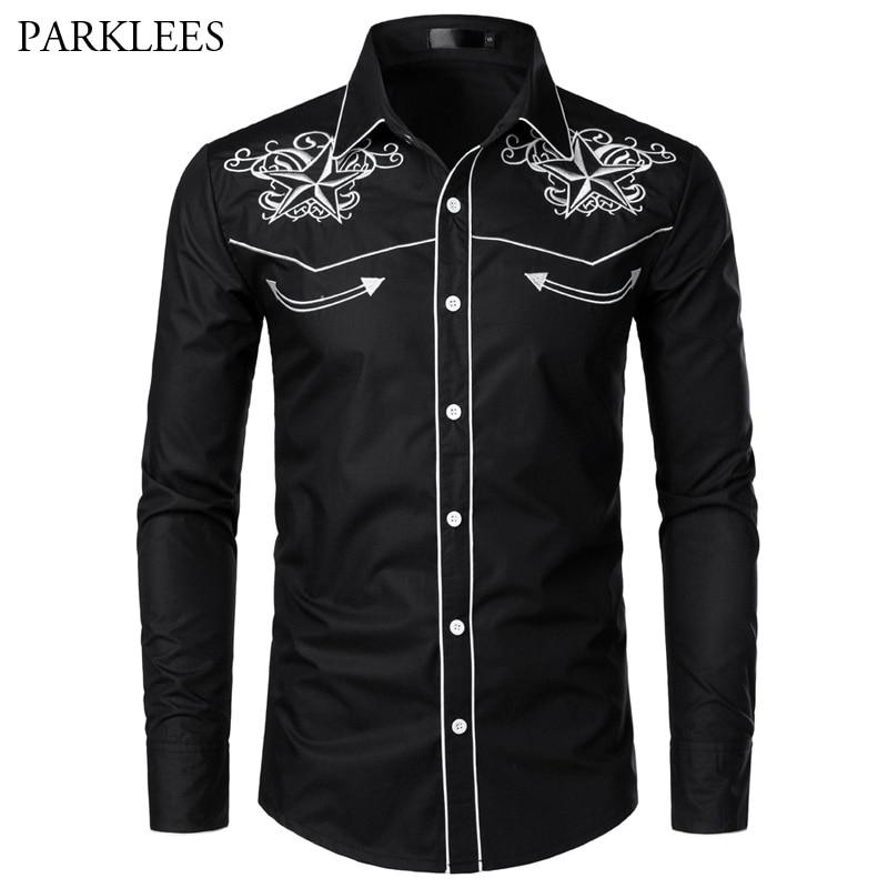 Black Embroidery Shirt Men 2019 Brand New Star Mens Button Down Shirts Men's Long Sleeve Dress Shirts Chemise Homme Camisa XXL