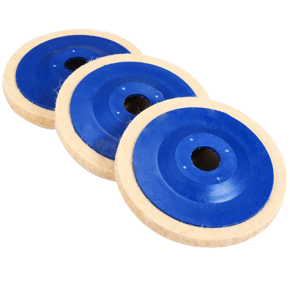 Image 3 - 3pcs 4 Inch Wool Polishing Pads Buffing Angle Grinder Wheel Felt 100mm Polishing Disc Pad Set Useful Abrasive Tools-in Abrasive Tools from Tools
