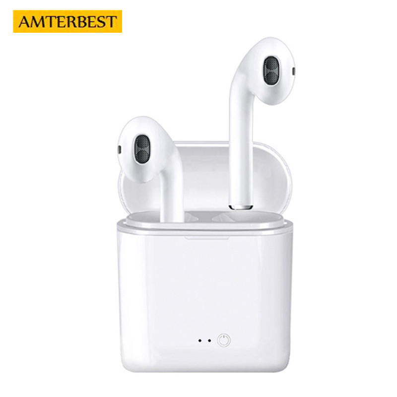 AMTERBEST High Quality I7 Wireless Bluetooth Earphone In-Ear Invisible Earbud Headphone Stereo Headset for IPhone Android Phones