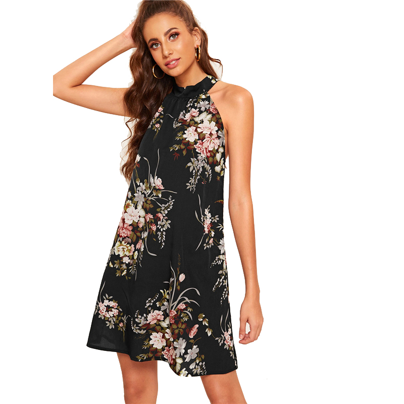 COLROVIE Black Floral Print Tie Back Halter Boho Summer Dress Women 2019 Sleeveless Holiday Short Dress Shift Ladies Dresses 8