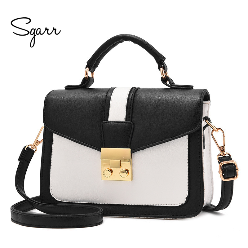 SGARR Women Handbag Shoulder Bags Luxury Designer PU Leather Small Casual Patchwork Tote Bag New Fashion Female Crossbody Bag  sgarr new pu leather women messenger bag fashion luxury designer solid black casual tote bags famous brand party shoulder bag