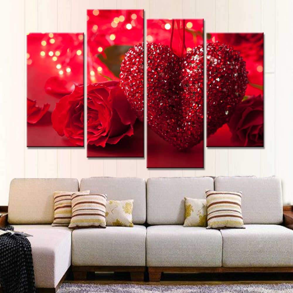 Modular Painting Canvas Wall Art Pictures Home Decoration 5 Pieces Rose Flower Red Loving Heart Modern HD Print Poster Framework